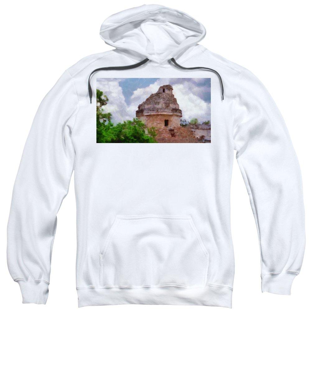 Yucatan Sweatshirt featuring the painting Mayan Observatory by Jeffrey Kolker