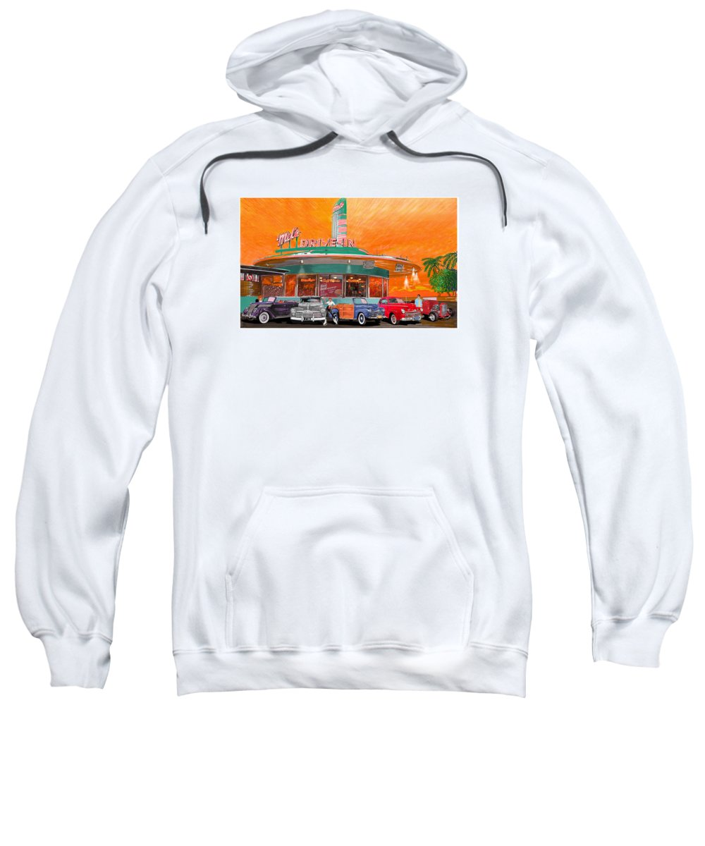 Car Art Sweatshirt featuring the painting Mels Drive In San Francisco 2nd Gen by Jack Pumphrey