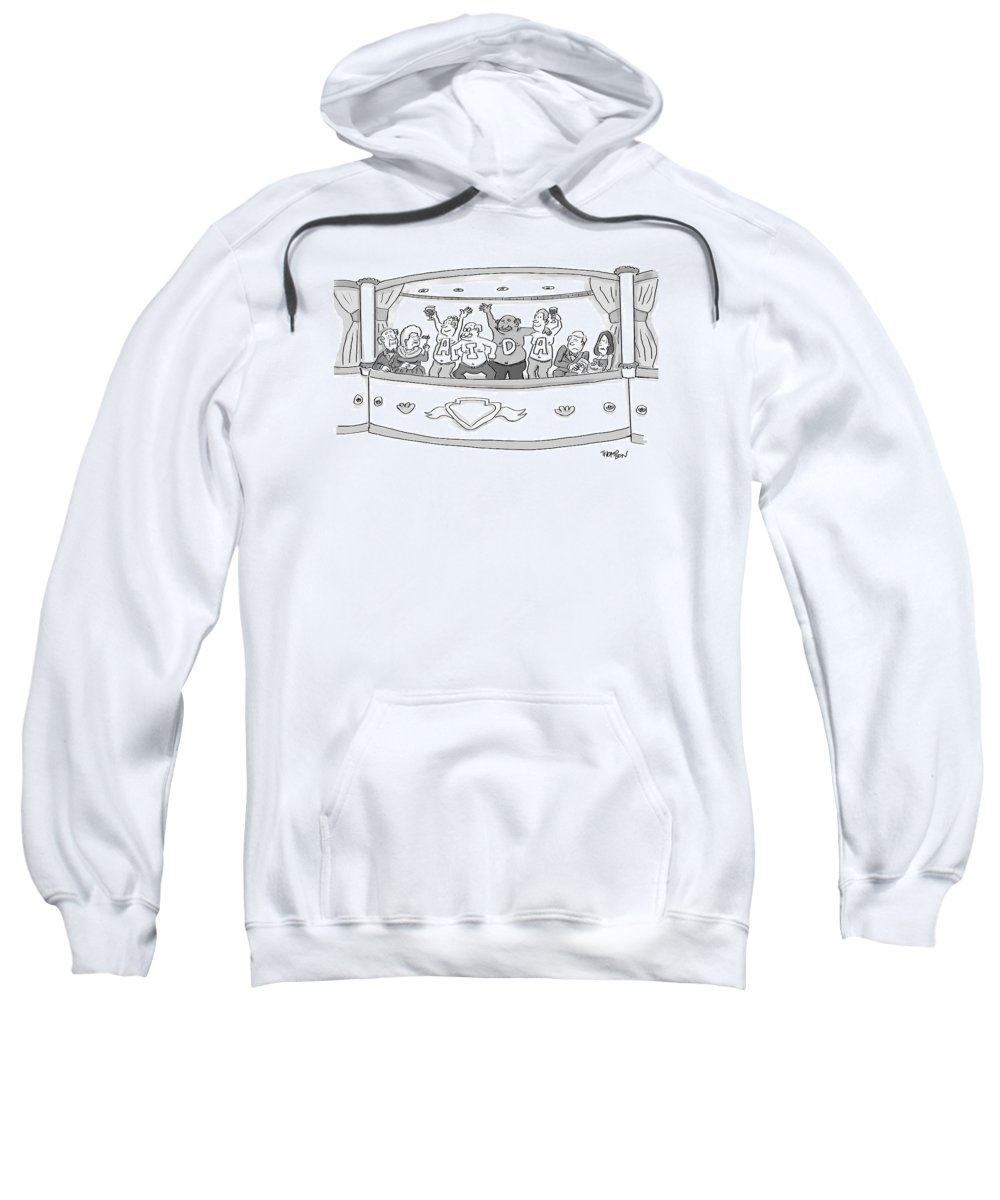 Painted Chest Sweatshirt featuring the drawing Men At The Opera by Mark Thompson