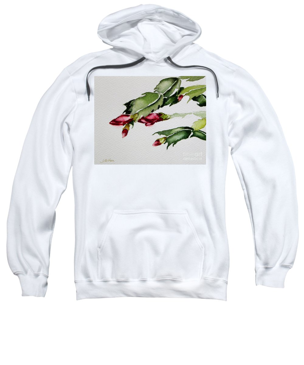 Art Sweatshirt featuring the painting Merry Christmas Cactus 2013 by Julianne Felton