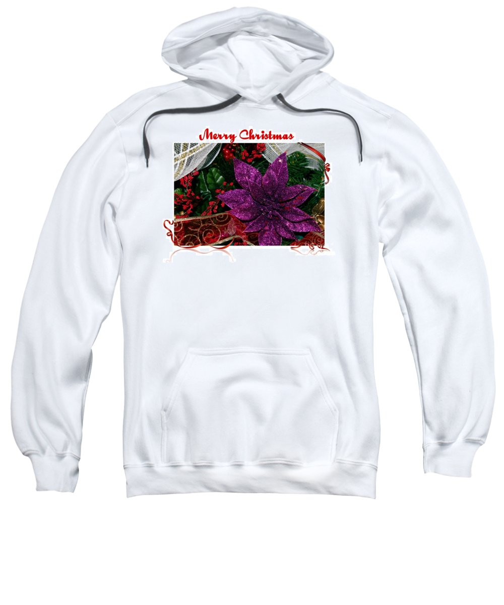Merry Christmas Red Ribbon Sweatshirt featuring the photograph Merry Christmas Red Ribbon by Barbara Griffin