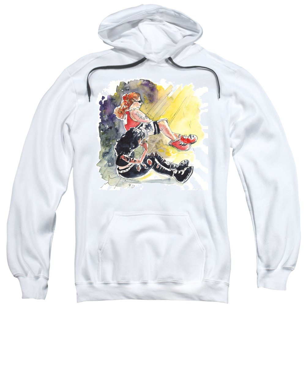Travel Sweatshirt featuring the painting Metal Chicks by Miki De Goodaboom