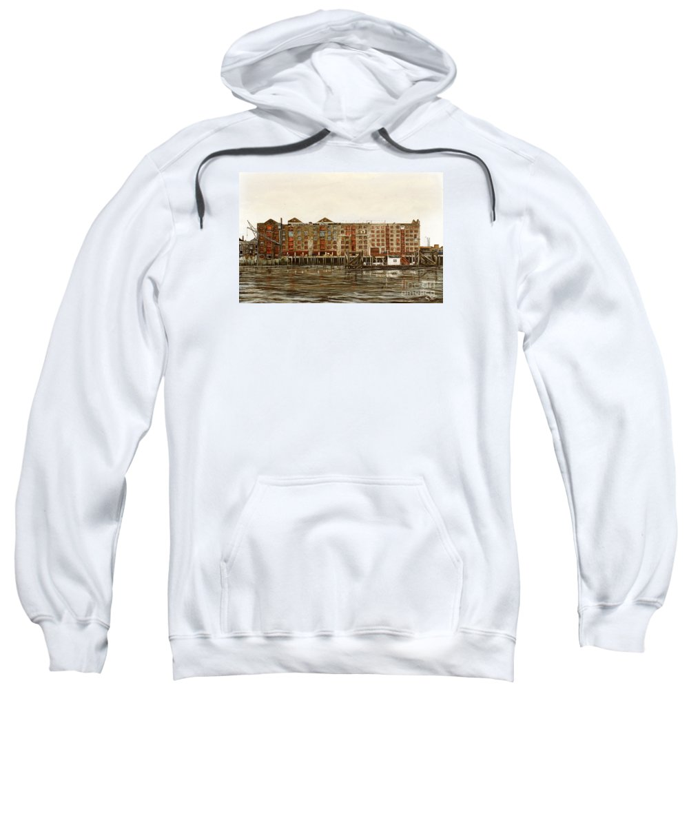 Wapping Sweatshirt featuring the painting Metropolitan Wharf Wapping London About 1980 by Mackenzie Moulton