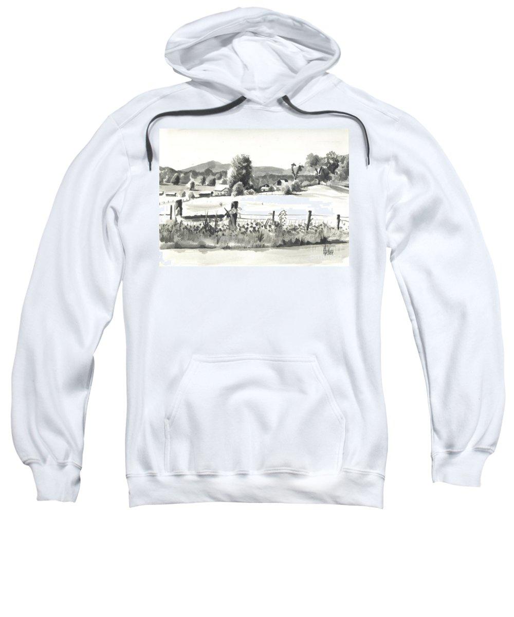 Midsummer View Out Route Jj  No I101 Sweatshirt featuring the painting Midsummer View Out Route Jj  No I101 by Kip DeVore