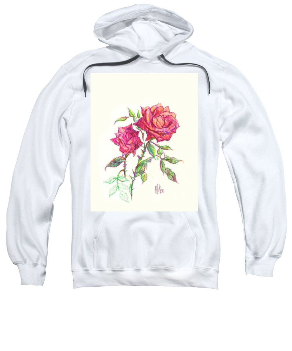 Nature Sweatshirt featuring the painting Minature Red Rose by Kip DeVore
