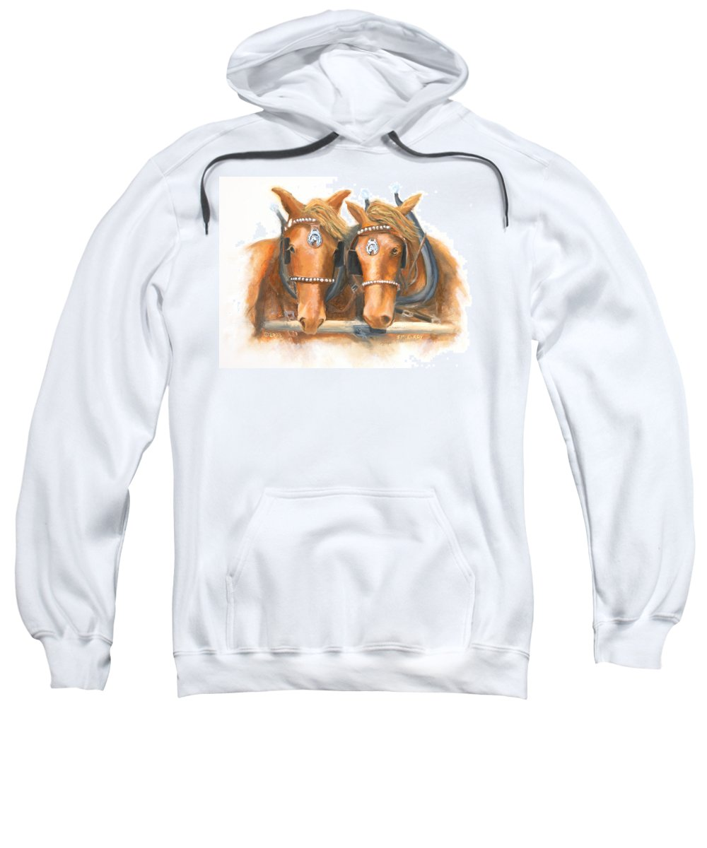 Horse Sweatshirt featuring the painting Mini And Jake by Jerry McElroy