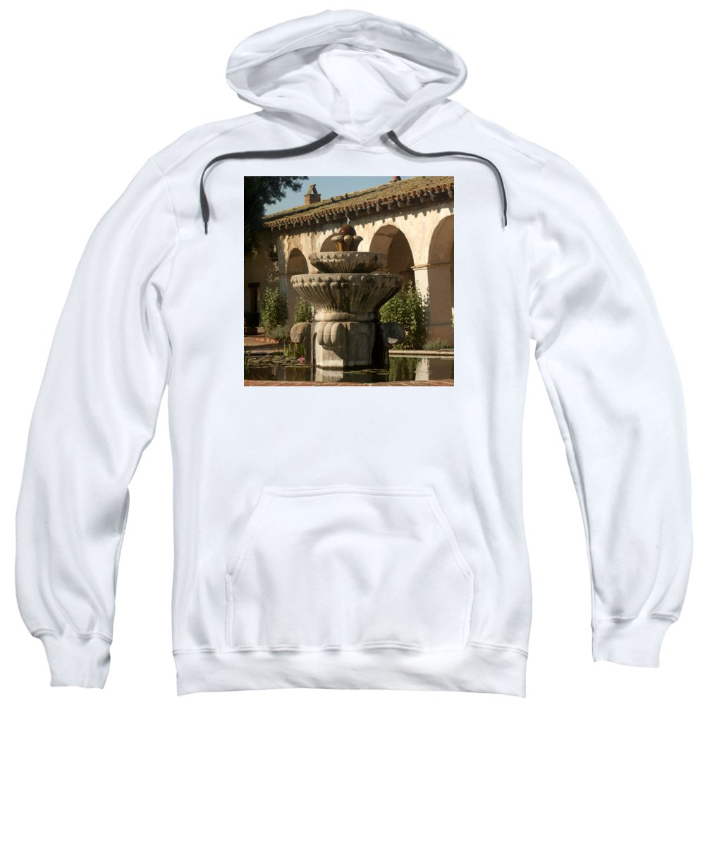 Mission San Miguel Sweatshirt featuring the photograph Mission Fountain by Art Block Collections