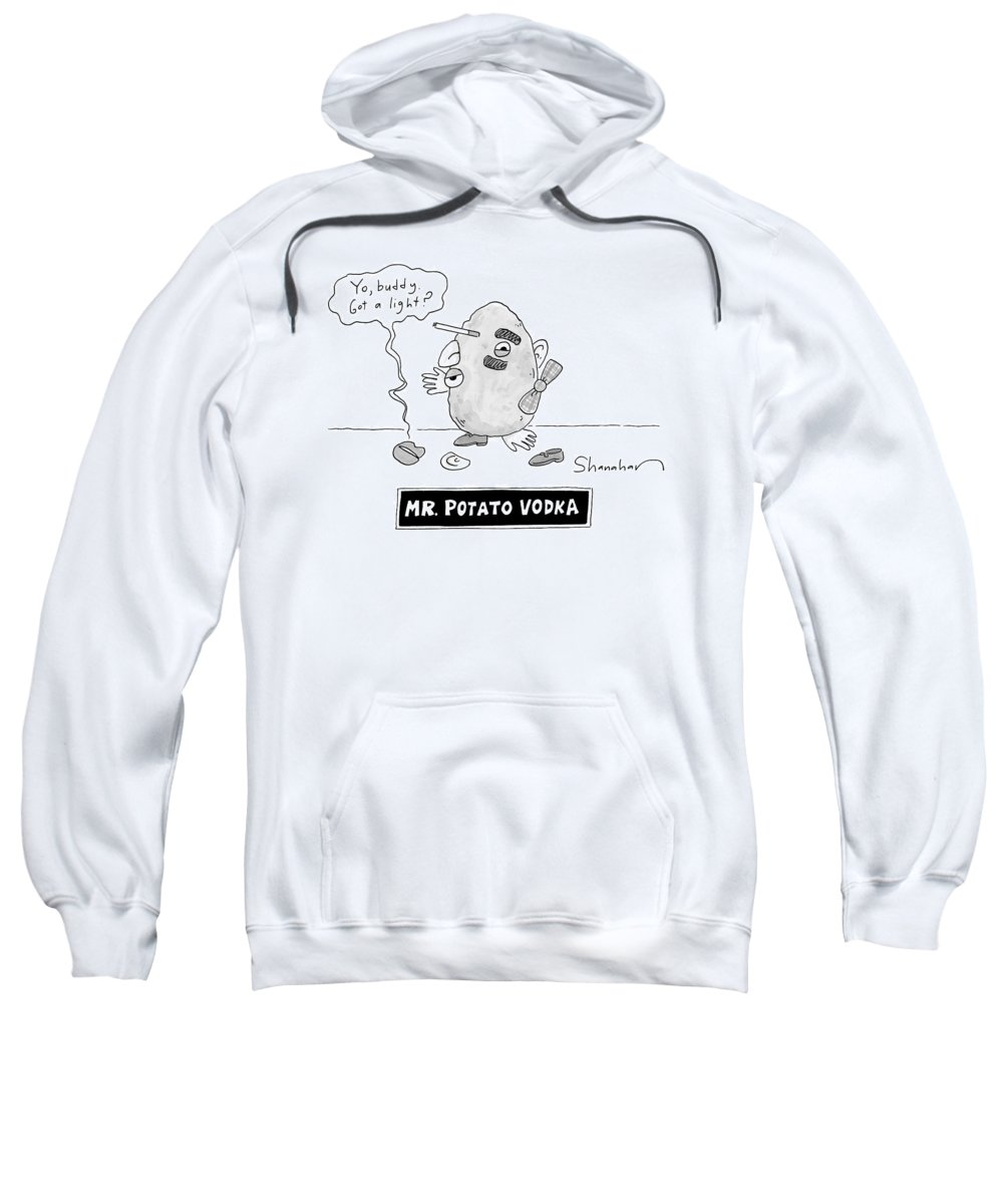 Captionless Sweatshirt featuring the drawing Mister Potato Vodka by Danny Shanahan