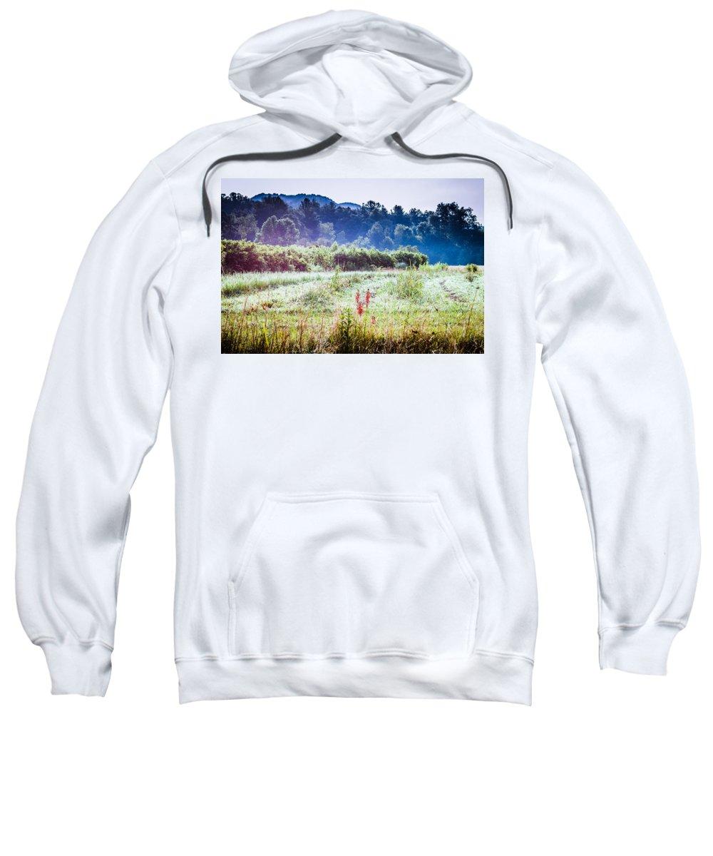 Farmlands Sweatshirt featuring the photograph Misty Field In Blue Ridge Mountain Farmlands by Mela Luna