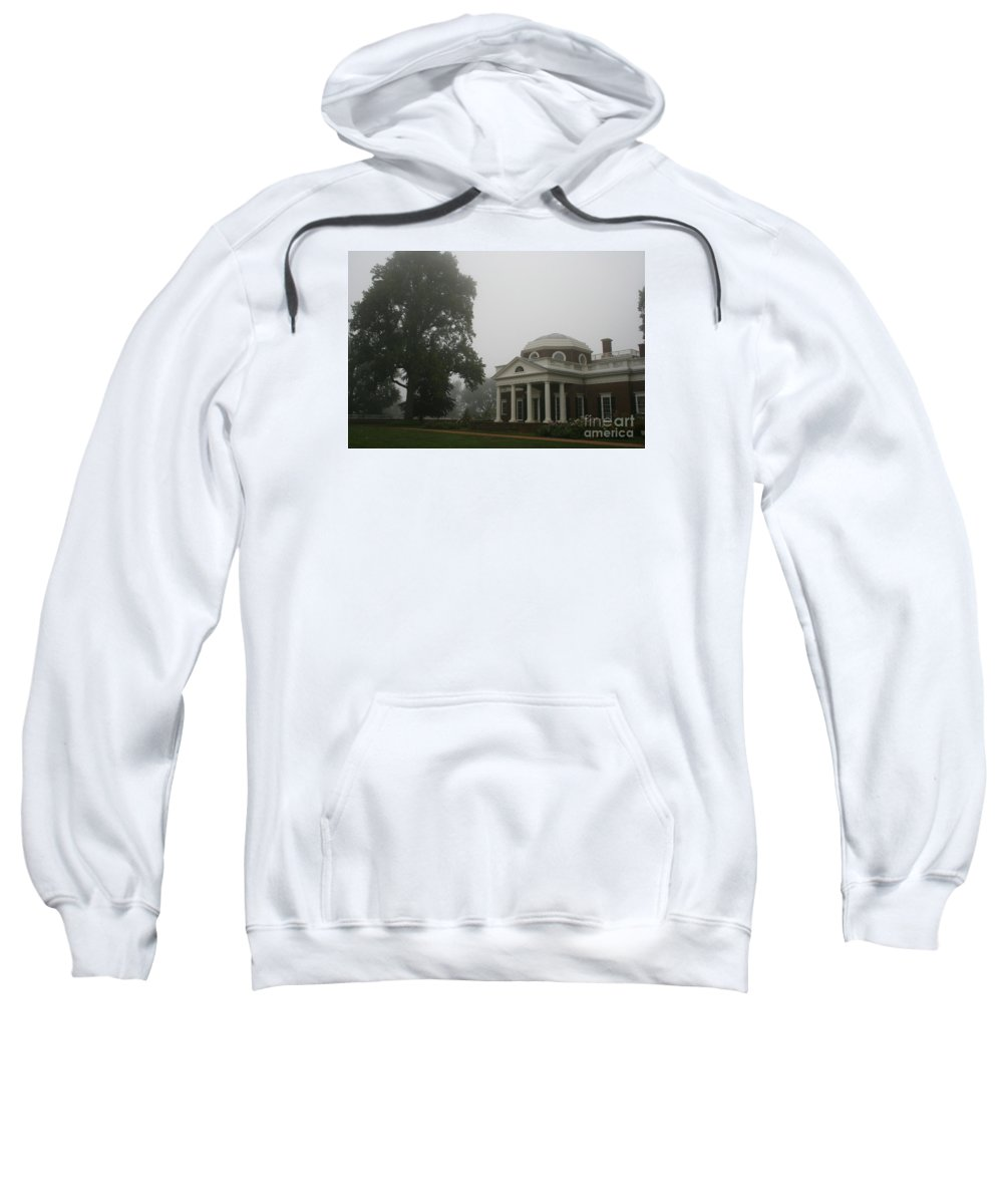 Mist Sweatshirt featuring the photograph Misty Morning At Monticello by Christiane Schulze Art And Photography