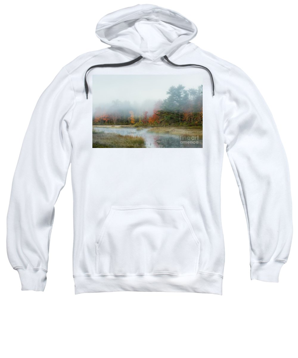 Maine Sweatshirt featuring the photograph Misty Morning Maine by John Greim