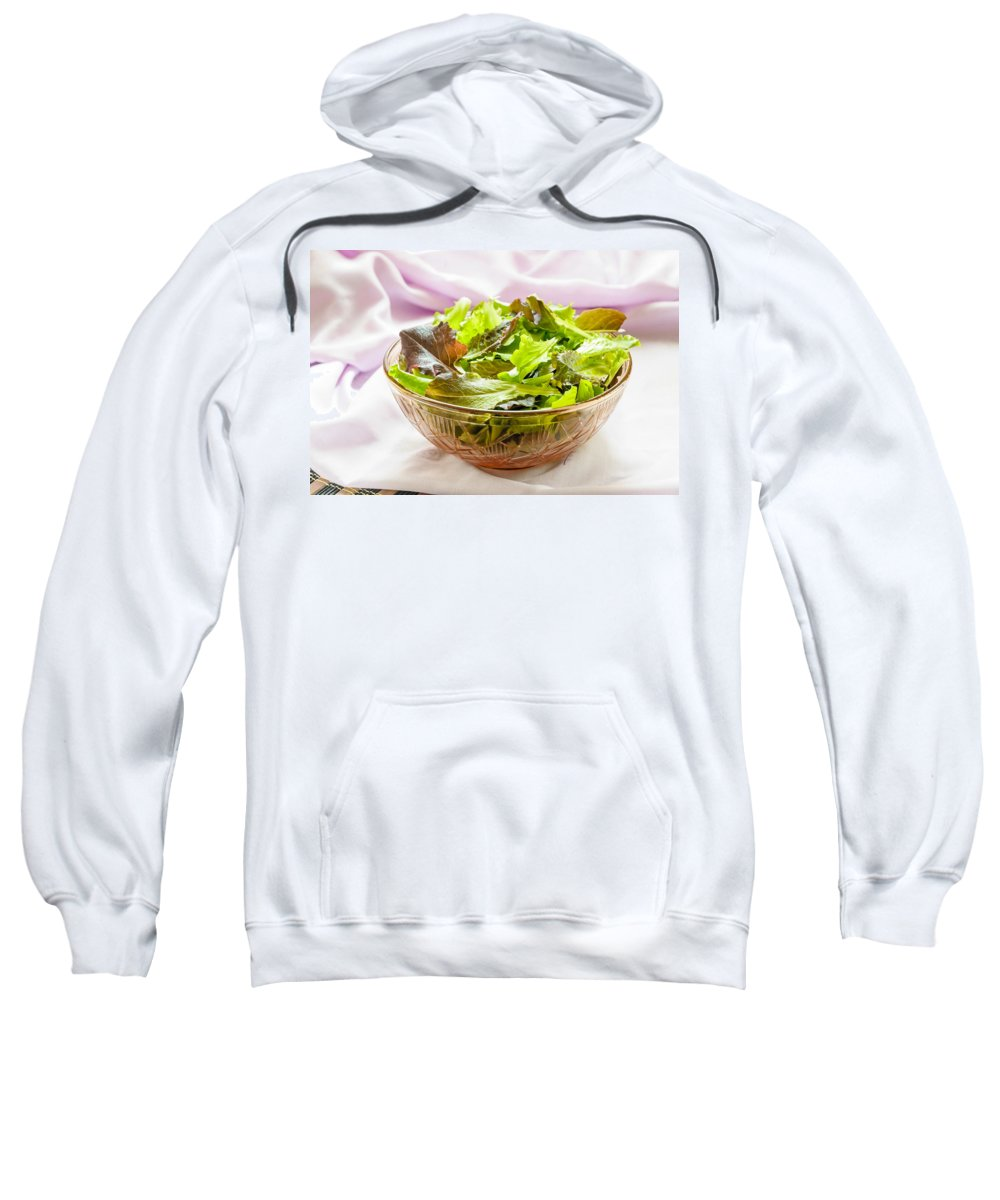 Cup Sweatshirt featuring the photograph Mixed Salad On Table by Alain De Maximy