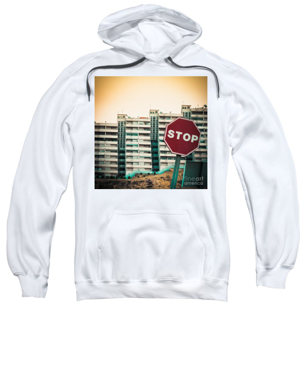 Against Sweatshirt featuring the photograph Mobile Photography Toned Stop Sign And Condo Units by Stephan Pietzko