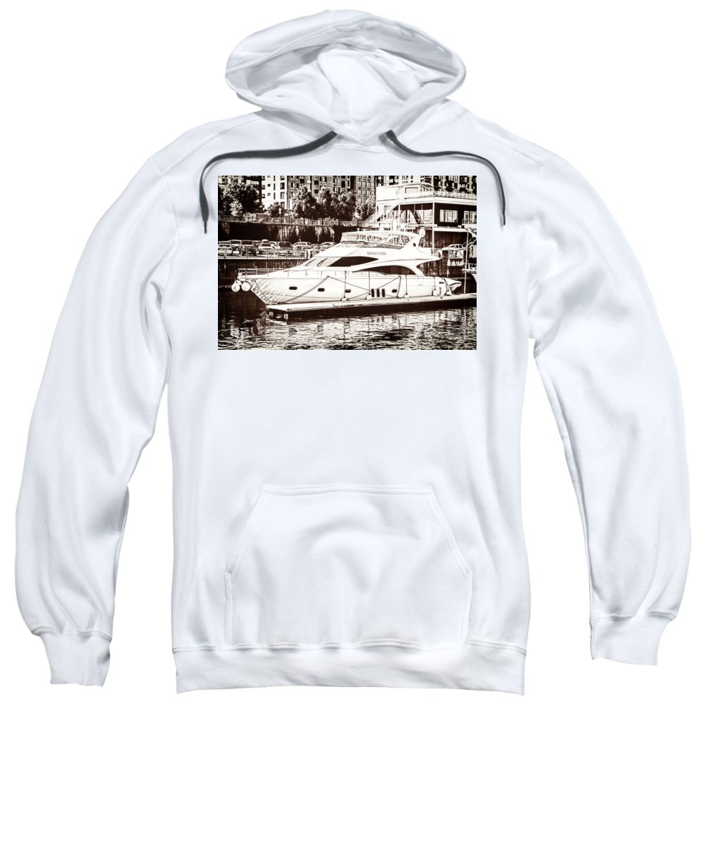 Momousse Yacht Sweatshirt featuring the mixed media Momousse Yacht In Montreal by Boris Mordukhayev