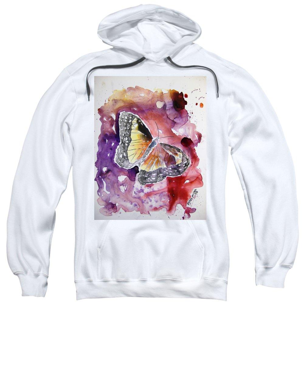 Monarch Sweatshirt featuring the painting Monarch Butterfly by Derek Mccrea