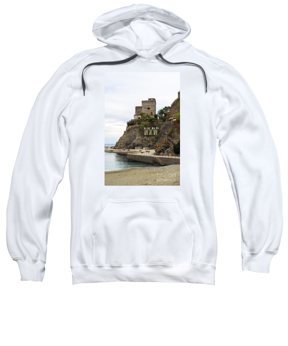 Monterosso Sweatshirt featuring the photograph Monterosso Harbor Pier by Prints of Italy