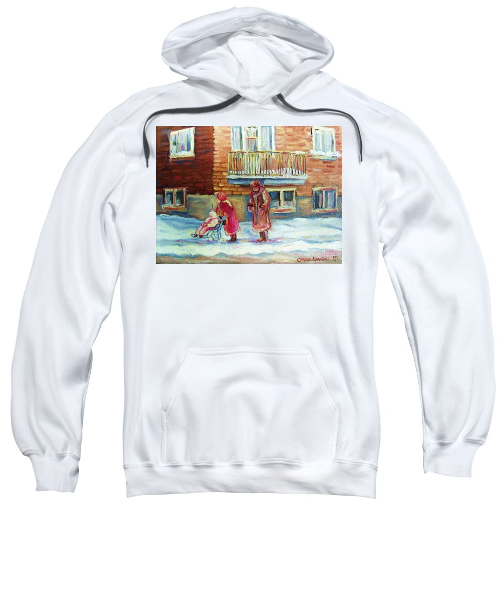 Montreal Sweatshirt featuring the painting Montreal Winter Scenes by Carole Spandau
