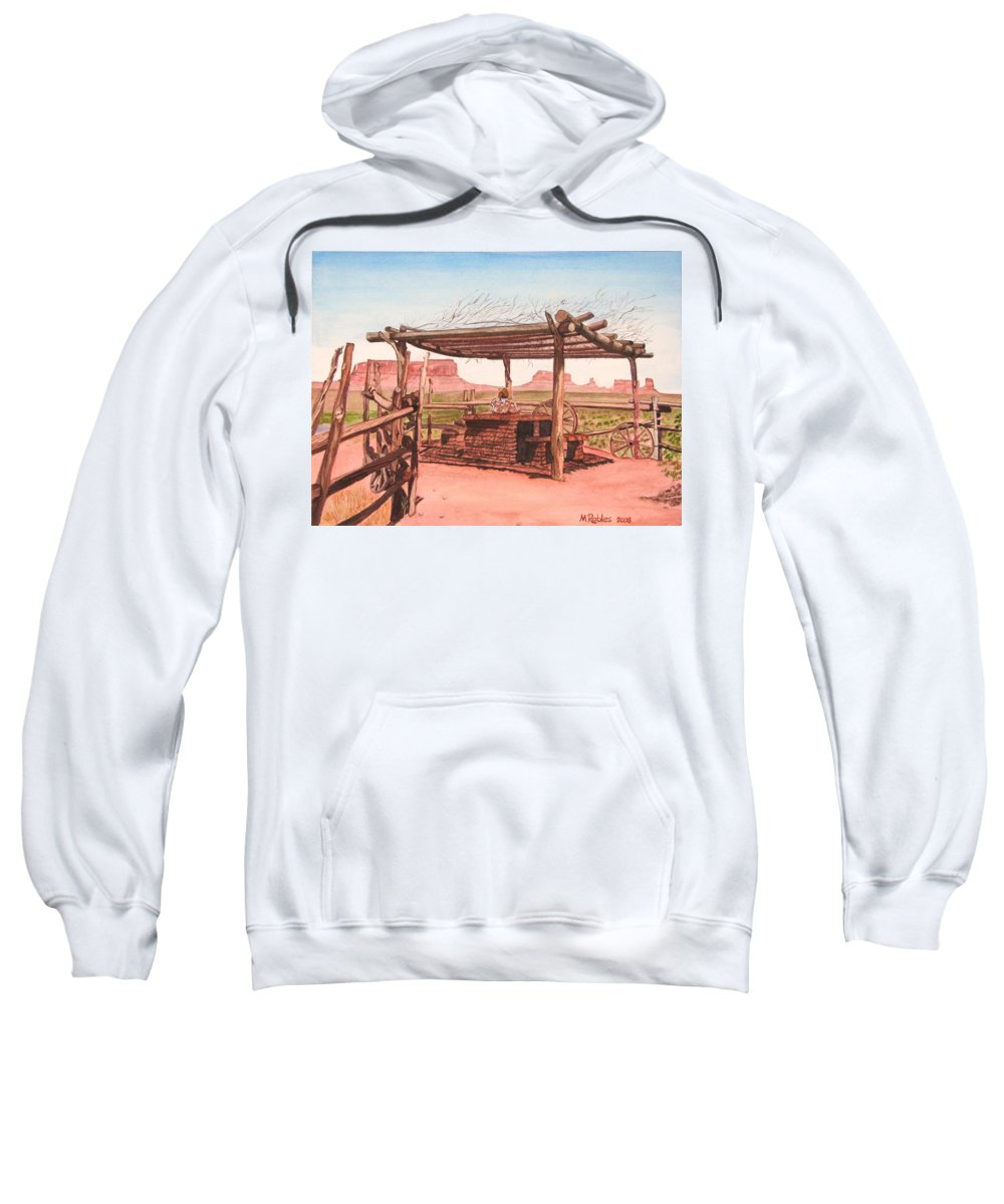 Monument Valley Sweatshirt featuring the painting Monument Valley Overlook by Mike Robles