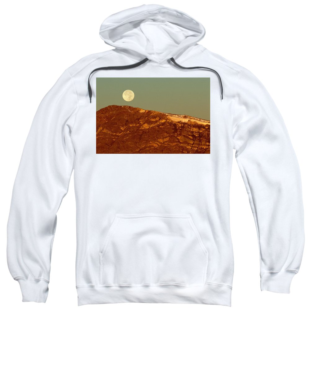 American West Sweatshirt featuring the photograph Moon Over Mount Ida by Eric Glaser