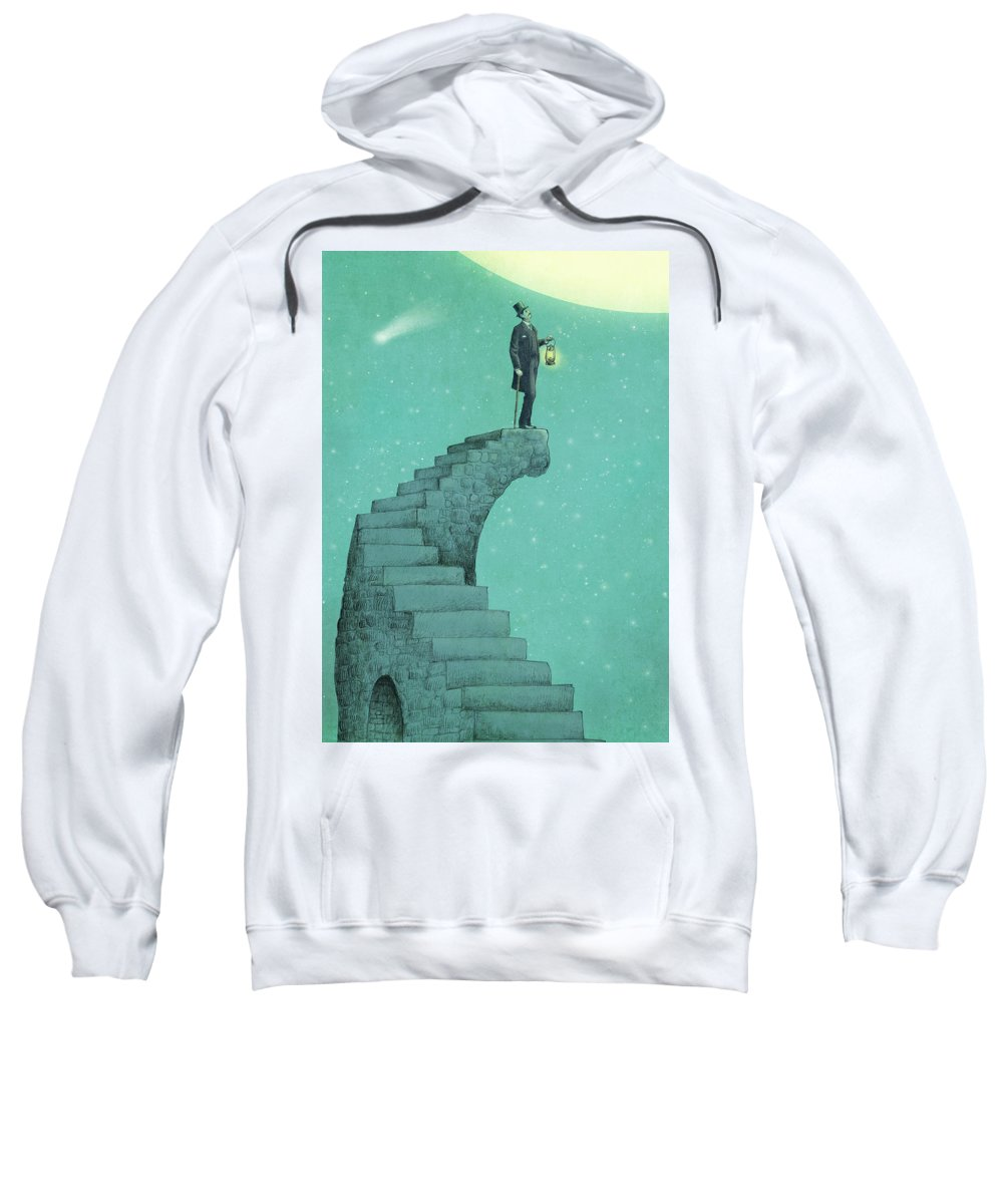 Moon Sweatshirt featuring the drawing Moon Steps by Eric Fan