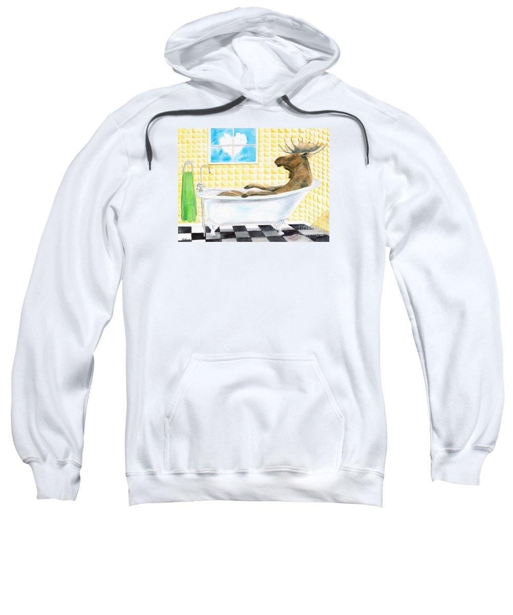 Moose Sweatshirt featuring the painting Moose Bath by LeAnne Sowa