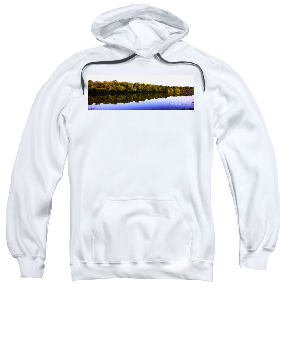 Backgrounds Sweatshirt featuring the photograph Moraine View State Park Pano 20140718-01 by Alan Look