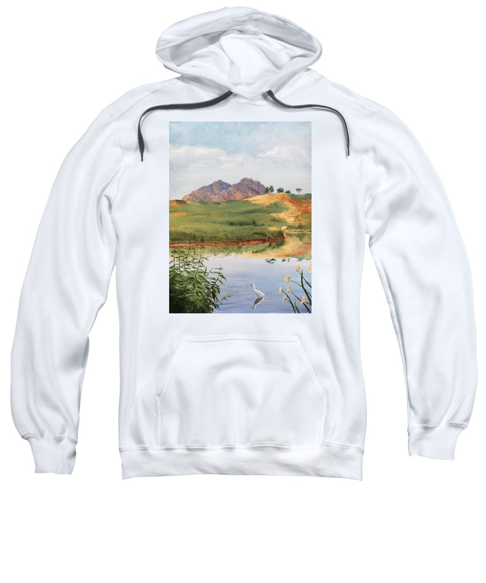 Animals Sweatshirt featuring the painting Mountain Landscape With Egret by Masha Batkova