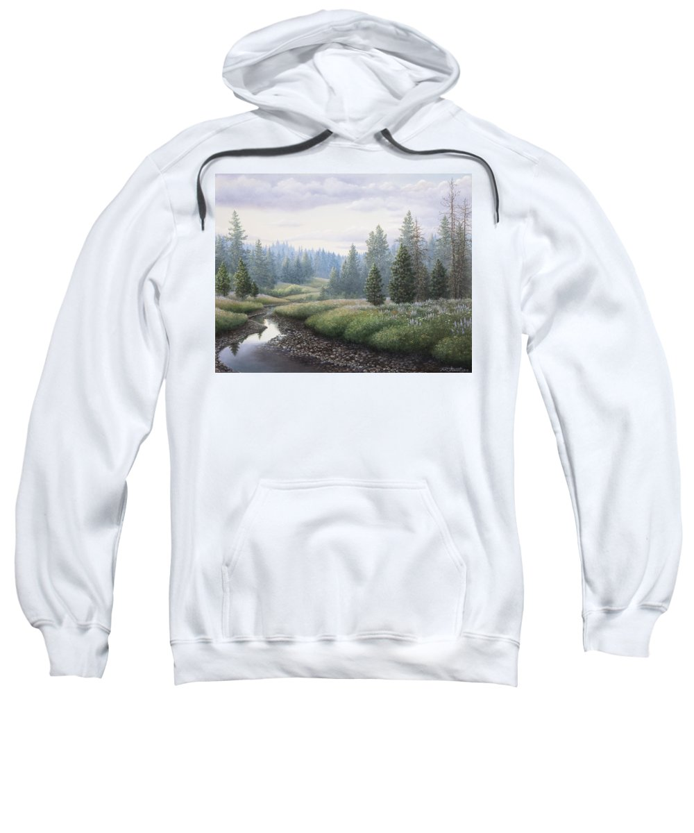 Meadow Sweatshirt featuring the painting Mountain Meadow by Mike Stinnett