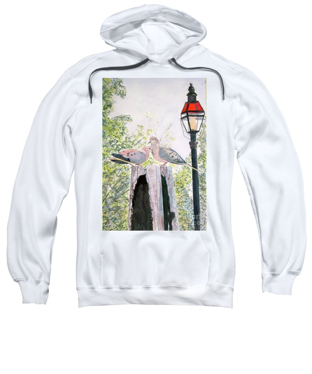 Birds Sweatshirt featuring the painting Mourning Doves by Carol Flagg