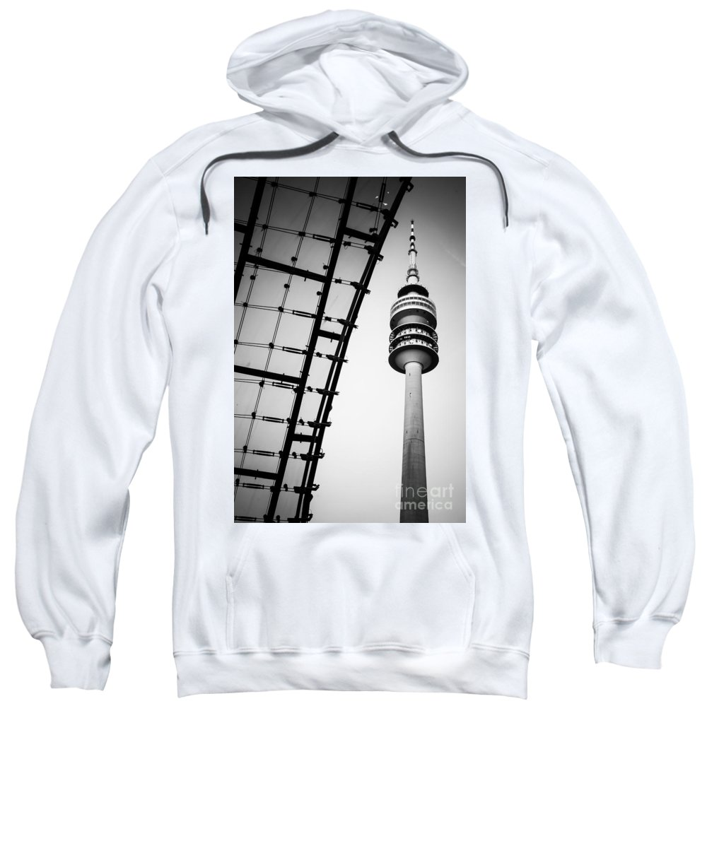 Architecture Sweatshirt featuring the photograph Munich - Olympiaturm And The Roof - Bw by Hannes Cmarits