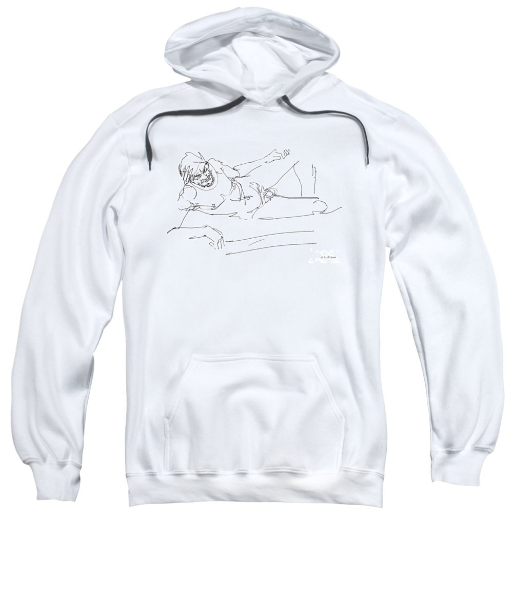 Male Sweatshirt featuring the drawing Naked-man-art-16 by Gordon Punt