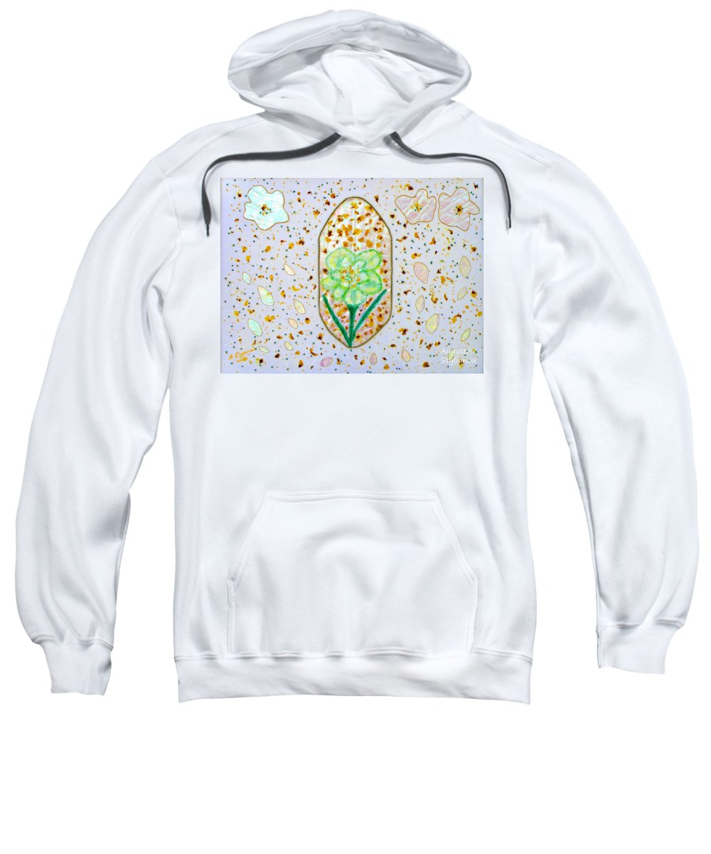 Augusta Stylianou Sweatshirt featuring the painting Narcissus Flower Petals by Augusta Stylianou