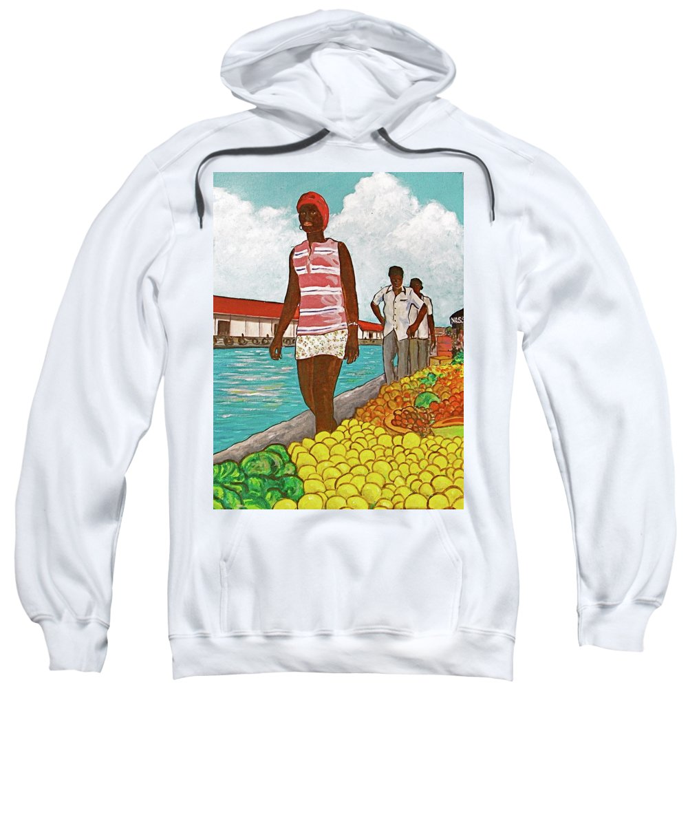 Bahamas Yellow Lemons Cabbage Tall Black Girl Nassau Two Men Waterfront Red Roof Sweatshirt featuring the painting Nassau Woman by Frank Hunter