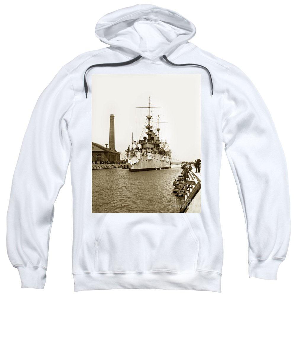 Navy Sweatshirt featuring the photograph Navy Cruiser Uss New York Going Into Dry Dock San Francisco Circa 1903 by California Views Archives Mr Pat Hathaway Archives