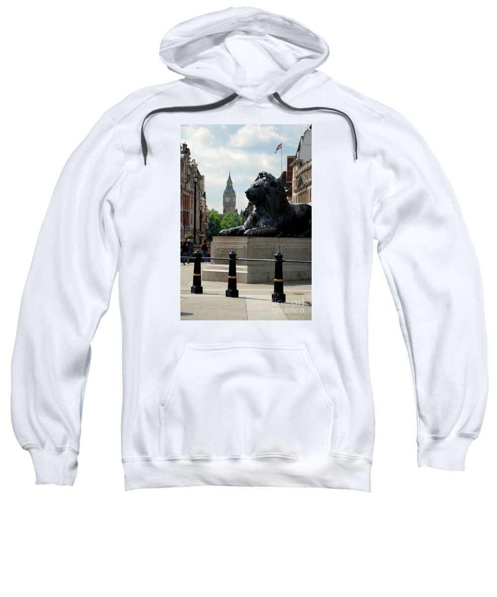 Nelson's Column Lion Big Ben London Great Britain Sweatshirt featuring the photograph Nelson's Lion by Richard Gibb