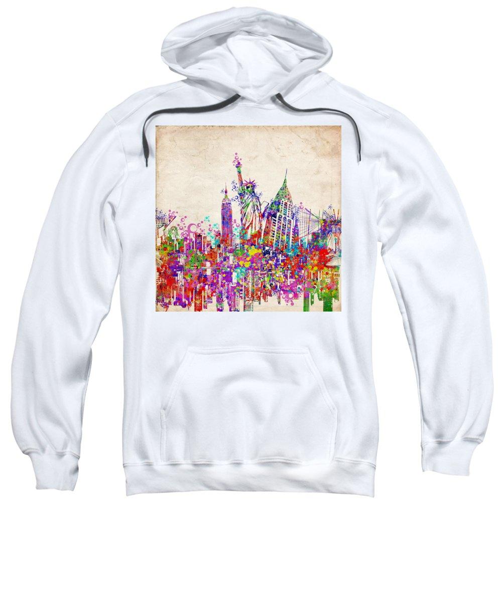 New York Sweatshirt featuring the painting New York City Tribute 2 by Bekim Art