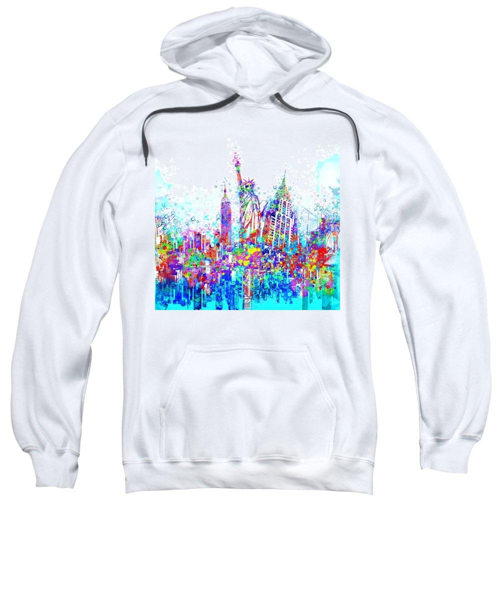 New York Sweatshirt featuring the painting New York City Tribute 3 by Bekim M