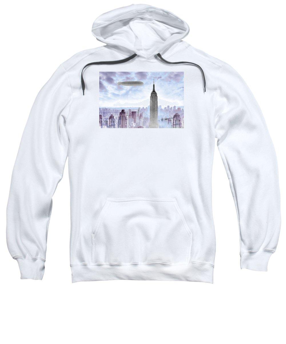 Empire Sweatshirt featuring the photograph New York Skyline And Blimp by Tony Rubino