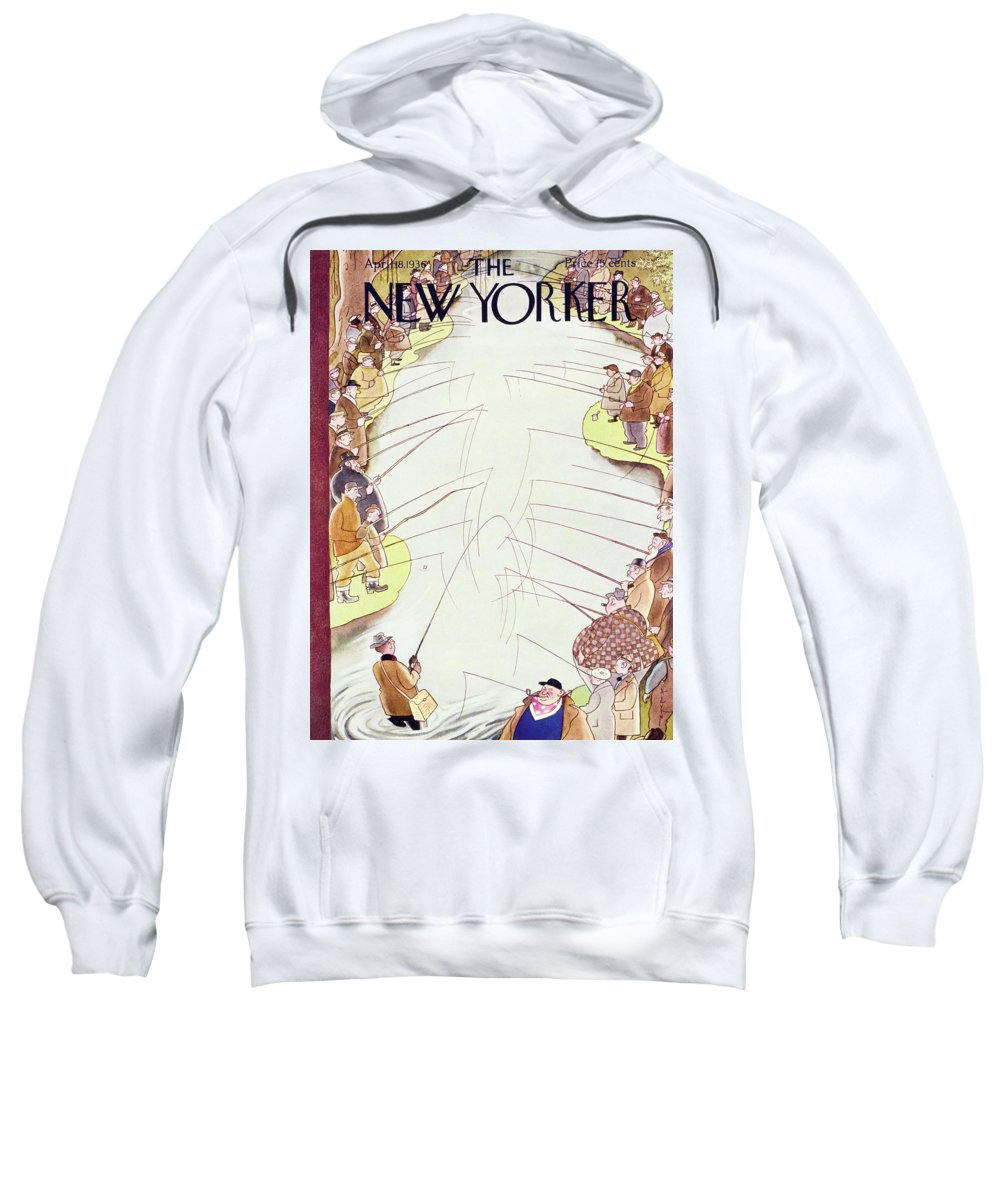 Sport Sweatshirt featuring the painting New Yorker April 18 1936 by Rea Irvin