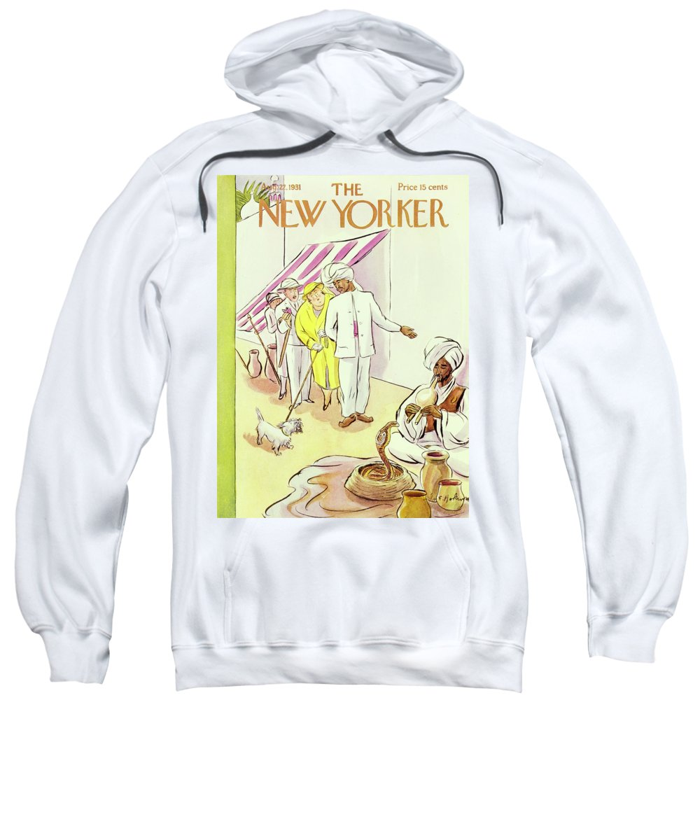 Illustration Sweatshirt featuring the painting New Yorker August 22 1931 by Helene E Hokinson
