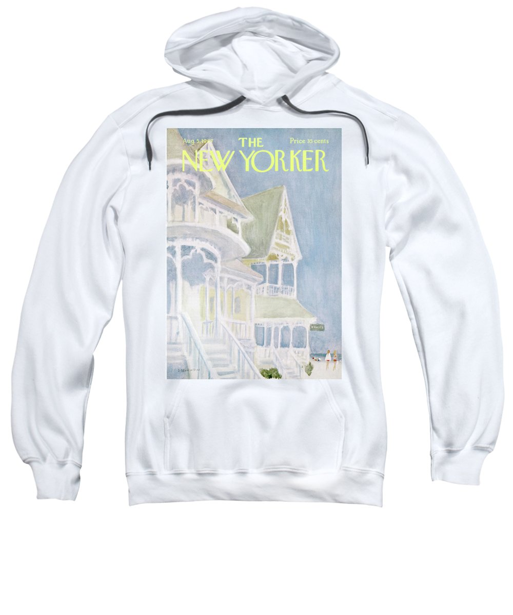 James Stevenson Jst Sweatshirt featuring the painting New Yorker August 5th, 1967 by James Stevenson