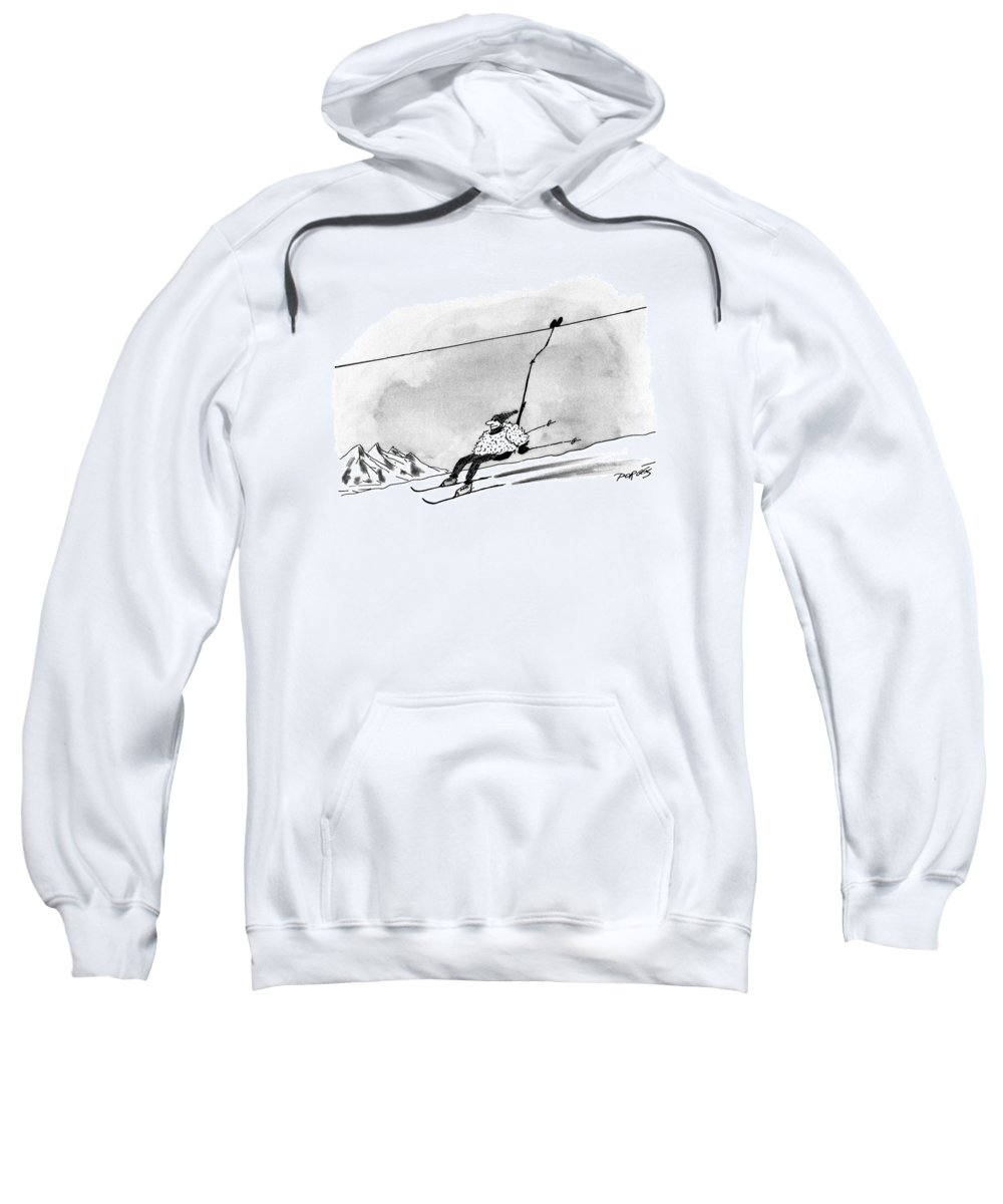 Entertainment Sweatshirt featuring the drawing New Yorker December 28th, 1992 by Peter Porges