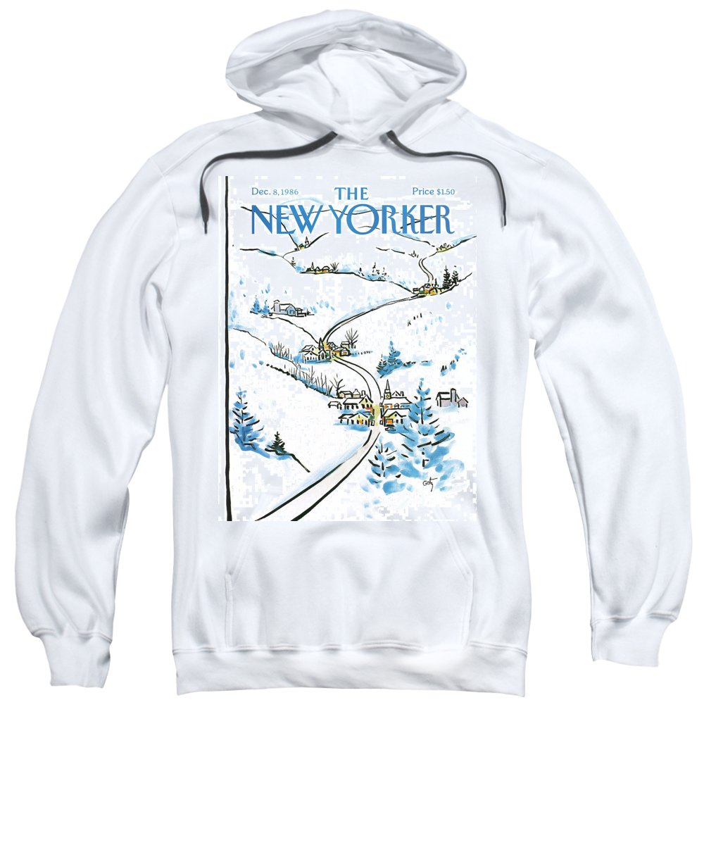 Weather Sweatshirt featuring the painting New Yorker December 8th, 1986 by Arthur Getz