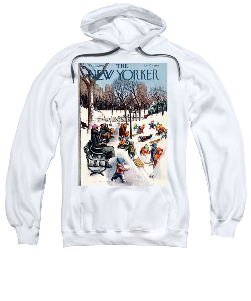 New York City Sweatshirt featuring the painting New Yorker February 26th, 1955 by Arthur Getz