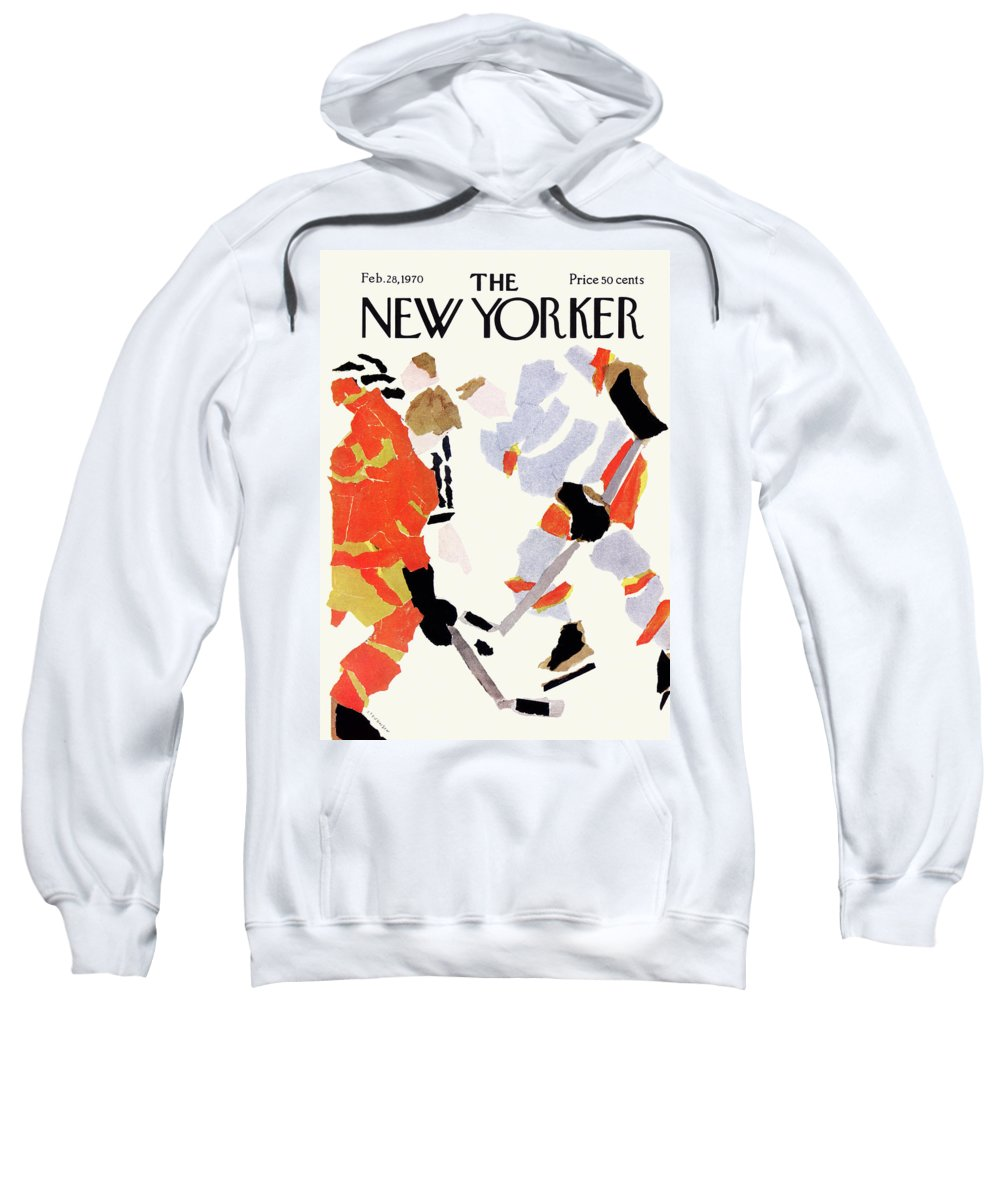 Collage Sweatshirt featuring the painting New Yorker February 28th, 1970 by James Stevenson