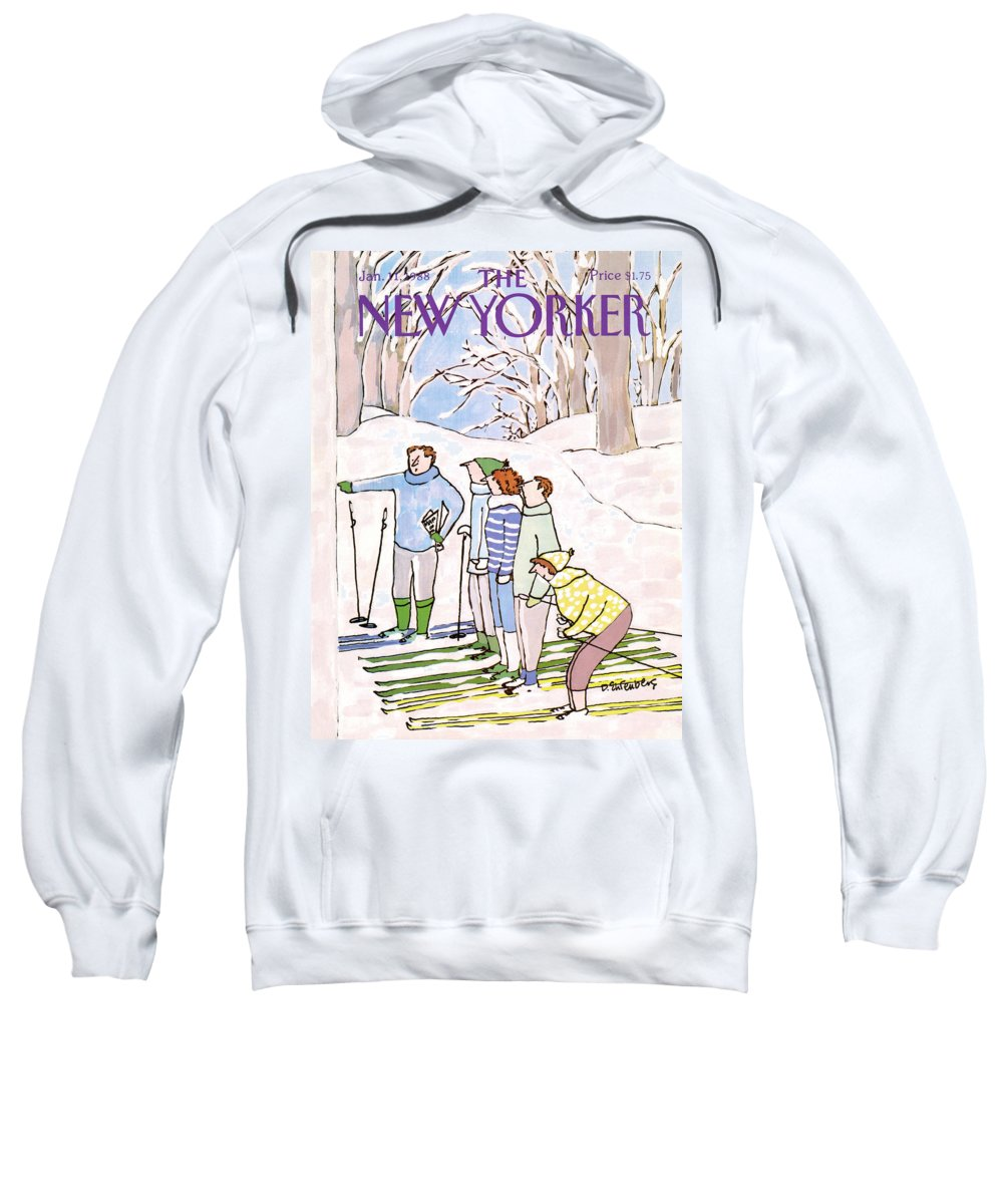 Nature Sweatshirt featuring the painting New Yorker January 11th, 1988 by Devera Ehrenberg