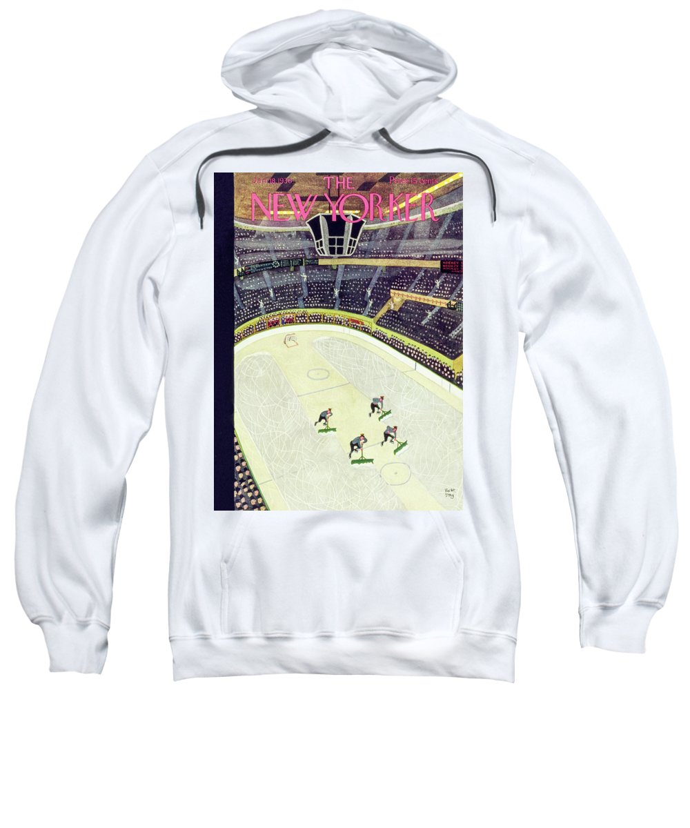 Sport Sweatshirt featuring the painting New Yorker January 18 1936 by Robert Day