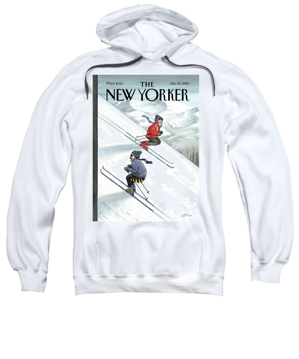 Up The Down Slope Ski Skiing Winter Sports Mountain Slopes Mountains Recreation Activities Harry Bliss Hbl Hbl Artkey 51153 Sweatshirt featuring the painting New Yorker January 24th, 2000 by Harry Bliss