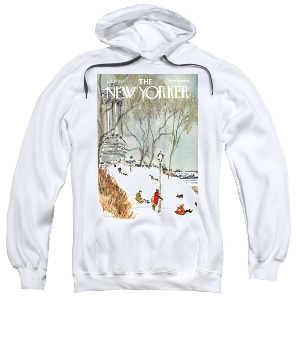Seasons Sweatshirt featuring the painting New Yorker January 27th, 1968 by James Stevenson