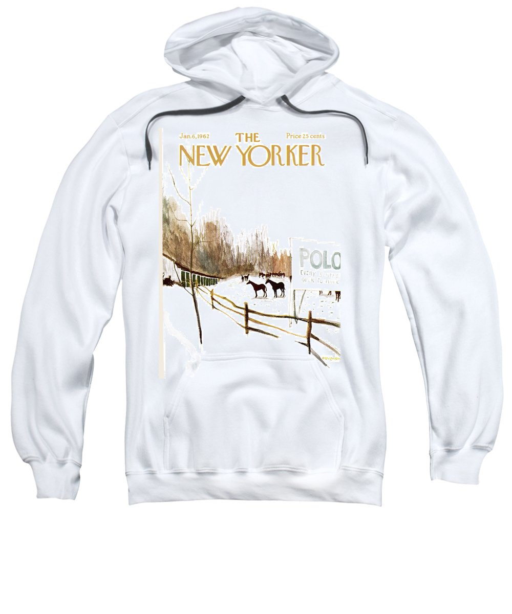 Suburb Sweatshirt featuring the painting New Yorker January 6th, 1962 by James Stevenson